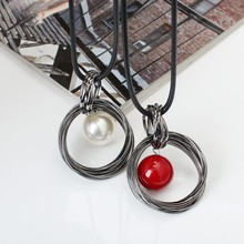 Buy New Fashion circles simulated pearl ball pendant long necklace women black chain fashion jewelry wholesale gift for $1.56 in AliExpress store