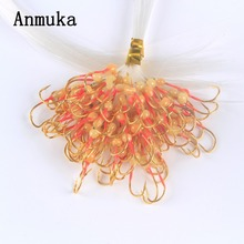 Anmuka 100 Pcs / Pack Mix Colour High Carbon Steel Fishing Hook with Fishing Lin Barbed Hooks Pesca Fishing Tackle Accessories