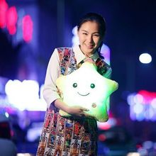 Colorful Body Pillow Cushion Star Glow LED Luminous Light travel Pillow Cushion Soft Relax Gift Smile 5 Colors Body Pillow(China)
