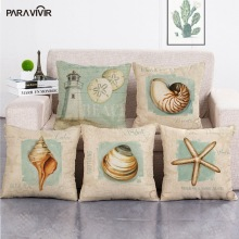 PARA VIVIR Cushion Cover Ocean Marine Conch Starfish Paint Pillow Case Cotton Linen Home Decorative Throw Pillow Cover 45*45cm