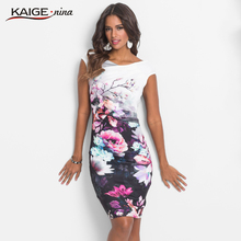 KaigeNina New Fashion Hot Sale Women Chinese Style Printing Cloth Slash Neck Mid-Calf Sleeveless knitting cotton Dress 18012