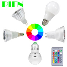 E27 E14 GU10 RGB LED Bulb lamp MR16 3W 5W Dimmable Bombillas ampoule 110V 220V 12V + Remote Control for Home Decor Free shipping