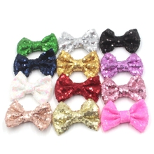 10pcs/lot 38 colors 3'' big sequin bows, Chic Messy sequin bows without clips, hair accessory , hair flower(China)