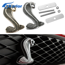 3D Metal Car Front Hood Grill Badge Grille Turning Logo Snake Cobra Emblem For Ford Shelby Mustang Carros Auto Car accessories