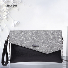 KIBDREAM 2017 New Hand Grip Leather Ladies Leisure Dinner With Single Shoulder Oblique Cross Envelope Bag Free Shipping