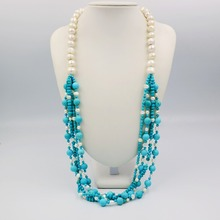 LiiJi Unique Fashion Necklace Turquoises Beads Heating Color&Freshwater Pearl Long Sweather Necklace 30''/76cm(China)