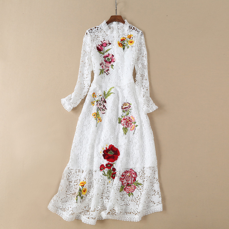 floral embroidered black  white lace party dress 2019 women clothes fashion dress o-neck long sleeve a line transparent dress