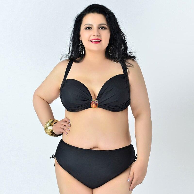 solid plus size bikini set women swimwear swimsuit large size bathing suit trikini ladies summer vacation<br><br>Aliexpress