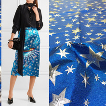 140cm wide fashion jacquard fabric blue star brocade fashion long skirts clothing handmade diy fabrics autumn and winter(China)