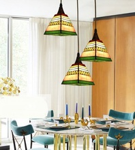 Tiffnay European simple study countryside creative Tiffany pendant light Mediterranean Restaurant pendant lamp(China)