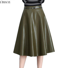 LXUNYI High Waist Long PU Leather Skirt Women Plus Size Black Camel Green Elegant Slim A