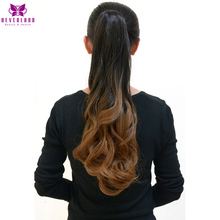 "Neverland 20"" 5 Colors Brown Ombre Ponytails Hair Extensions Wavy Heat Resistant Synthetic Claw Hairpieces Hair Tail(China)"