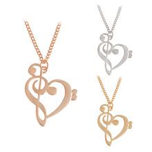 Fashion Hollow Heart Pendants Necklaces Simple Design Chic Charm Music Character Necklace For Women Vintage Jewelry Accessories