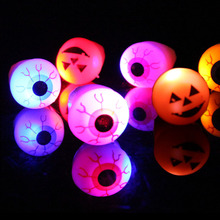 2017 Real Hot Sale Led Wedding Favors Leds 20pcs/lot Halloween Soft Toys Ring Eyes And Pumpkin Lights Luminous Finger(China)