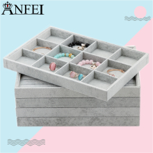 Anfei Jewelry Display Tray Necklace Display Box Velvet Jewelry Organizer Box Bead Container Storage Of Ornaments Caskets A04(China)