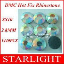 ,DMC strass crystal hot fix rhinestones For crystal ab Color SS10,3mm China post air mail free,1440pcs/lot star15