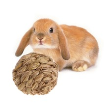 10cm Pet Chew Toy Woven Grass Ball with Bell For Rabbit Hamster Guinea Pig Chinchillas