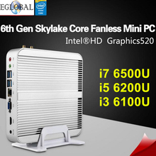 [6Gen Skylake CPU] Win10 Mini pc i7 Barebone Intel Nuc Fanless Computador Core i7 6500U i5 6200U Graphics HD 520 4K HD HTPC