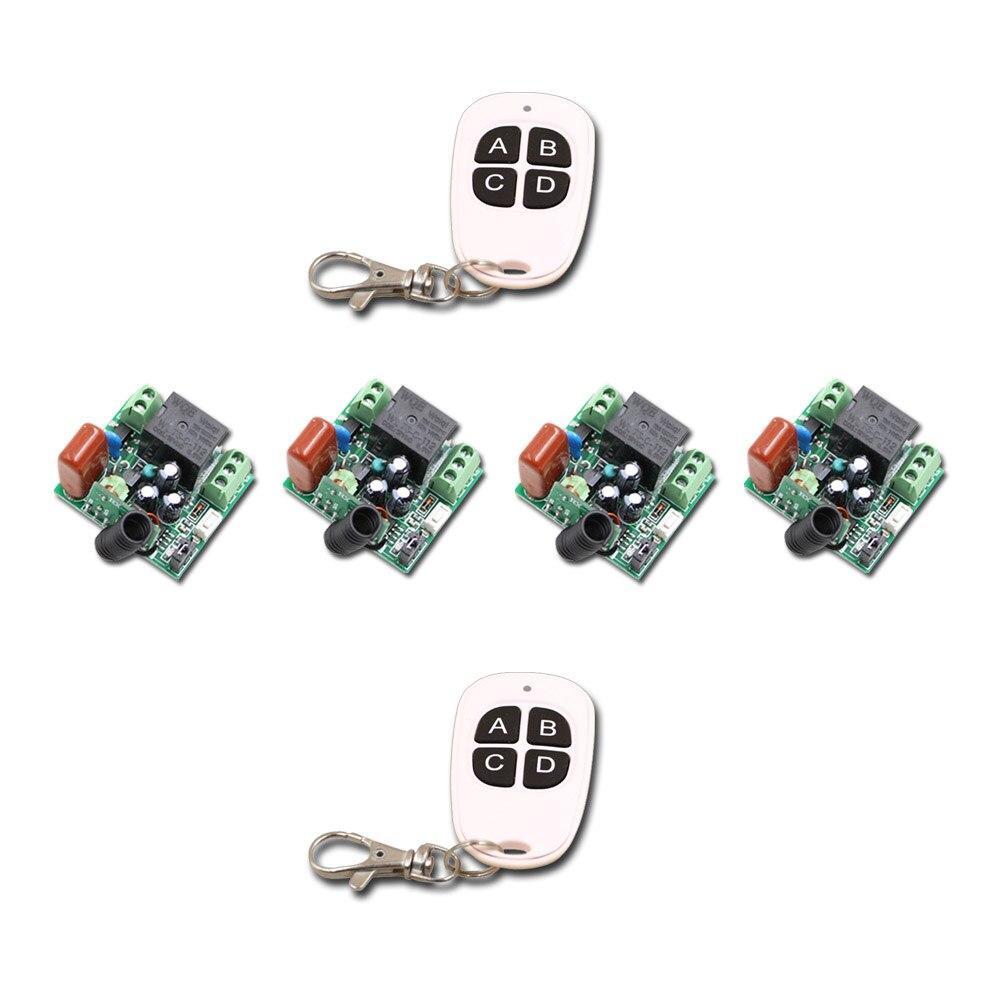Mini Size AC220V 1CH RF Wireless Remote Control Switch System,2X 4CH Waterproof Transmitter+4 X Receivers,Self-lock/Jog 315/433<br>