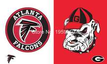 Atlanta Falcons vs Georgia Bulldogs Flag 3ft x 5ft Polyester  Banner 90x150cm metal grommets