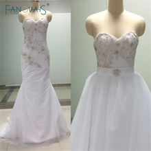 Real Design Wedding Dresses Detachable Train Bridal Gown Vestido Noiva Heavy Work Beads Crystals Pearls Bridal Dresses ASAW62(China)