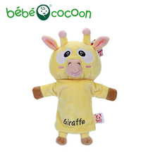 bebecocoon NEW Unisex Child Kids Cute Plush Velour Lovely Giraffe Animals Hand Puppets Chic Designs Learning Aid Toys Dolls(China)