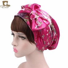 NEW Satin bow headscarf comfortable sleeping bonnet curly hair wrap womens silk head scarf head wrap cap
