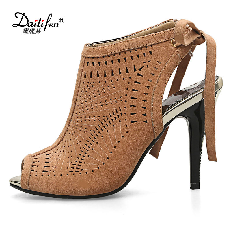 Daitifen 2018 Size 32-43 Women Sandals New Fashion Gladiator High Heel Office Lady Pumps Woman Shoes Black grey summer Sandals <br>