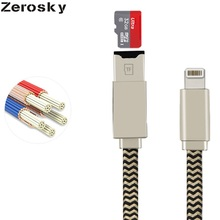 Zerosky Multi-function IOS to USB Digital Cable External U Disk Data Charging Cable Micro SD TF Card Reader Cables for iPhone