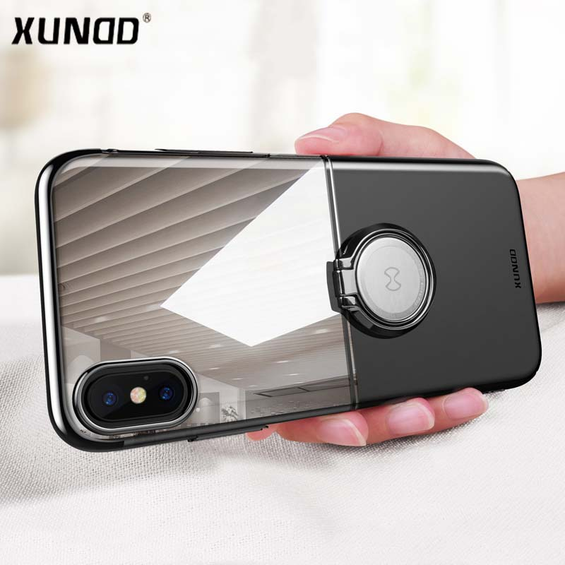 Luxury Clear Ring Holder Case For iphone X 10 Xundd Hard PC back Cover For iphone X case capa work with Magnetic car holder 16