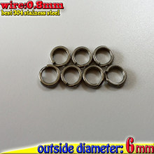 500pcs/lot fishing split rings size :wire0.8mm*OD6mm the best quality 304 stainless steel(China)