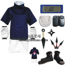 Naruto uchiha sasuke cos child version cosplay costume full set include shoes + kunai +headband+leg &waist bag Halloween costume(China)