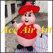 custom giant 3m dancing inflatable pig cartoon for restaurant advertising