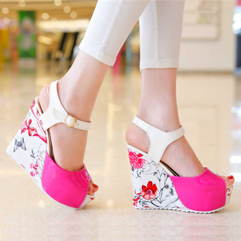 Karinluna Women s Flower Printed High Heel Wedge Summer Shoes Woman 2018  Ankle Strap Open Toe Platform cb0771d108cc