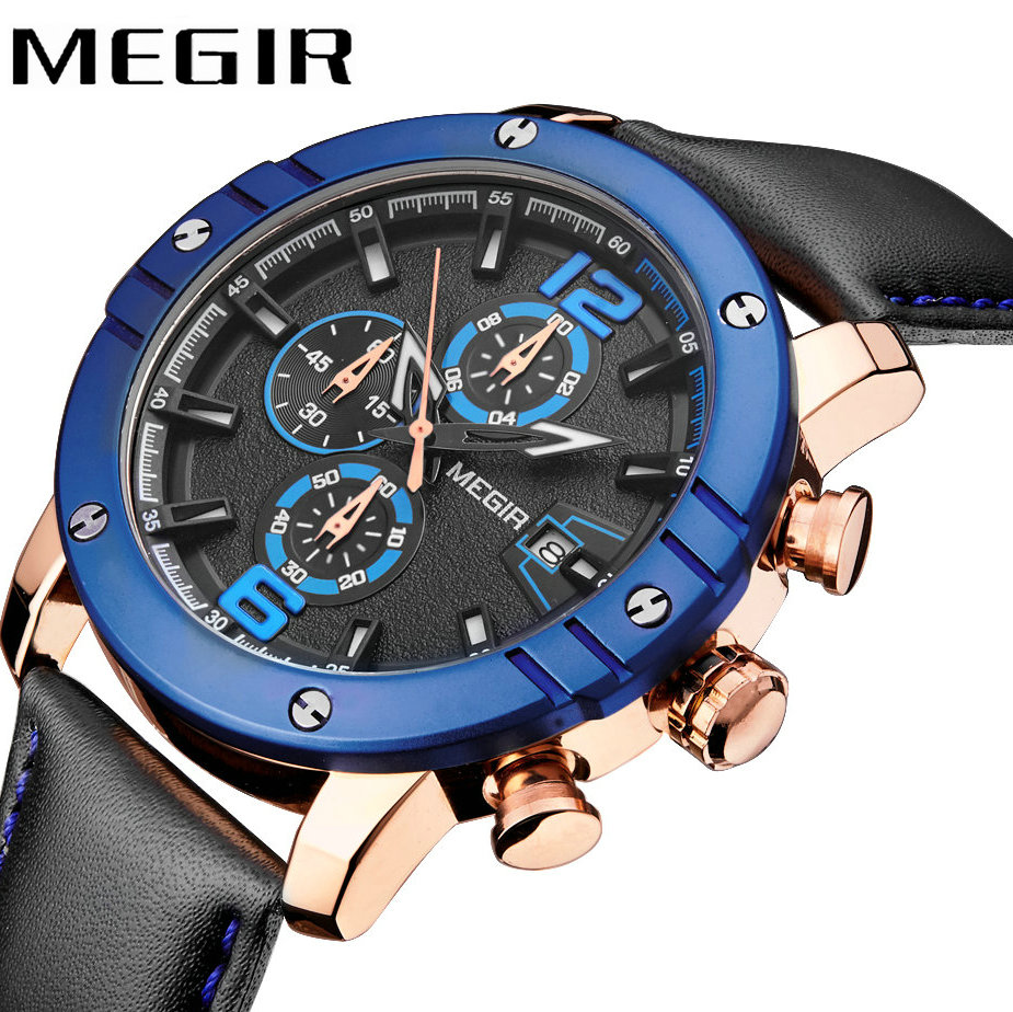 MEGIR Top Brand Luxury Men Quartz Watch Leather Strap Date Display 3D Dial Design Army Military Waterproof Wrist Watches <br>