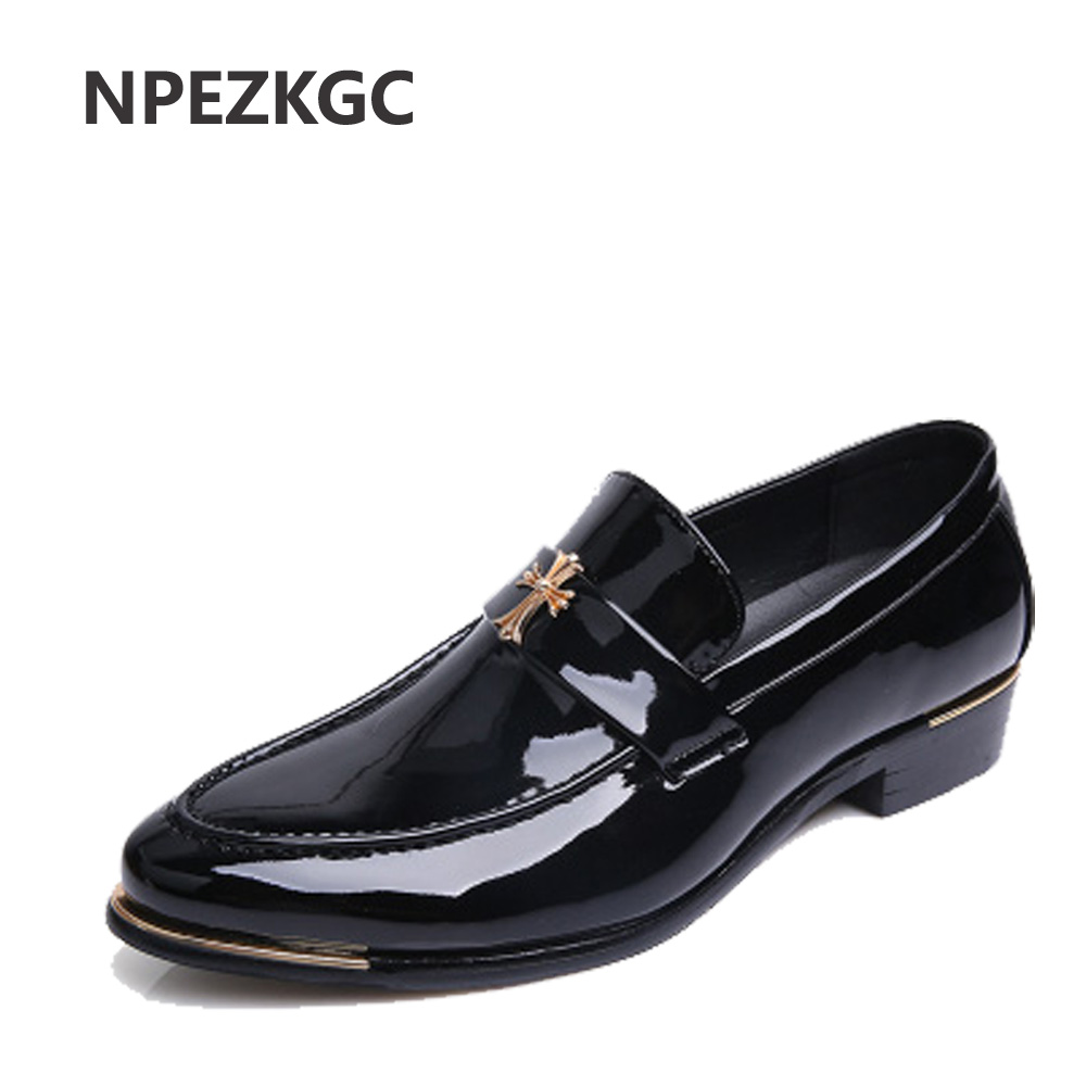 NPEZKGC 2017 Brand New Mens Oxford Shoes Pointed Toe Fashion Flat Luxury Patent Leather Dress Shoes Oxford Men Shoe<br>