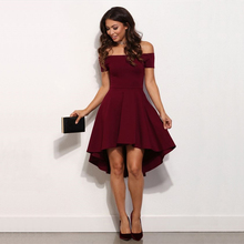 2017 New Summer Autumn Fashion Women Bohemian Wine red Blue dresses sexy strapless slash neck dress casual A-Line dress Vestidos