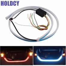 1Set Car LED Strip Lighting Rear Trunk Tail Light Dynamic Streamer Brake Turn Signal Reverse Leds Warning Light Ice Blue Red