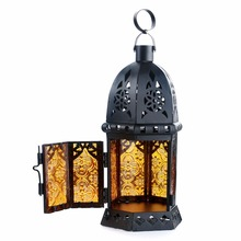 1 PC New Design Glass Metal Moroccan Delight Garden Candle Holder Table/Hanging Lantern for Decoration metal garden lanterns(China)