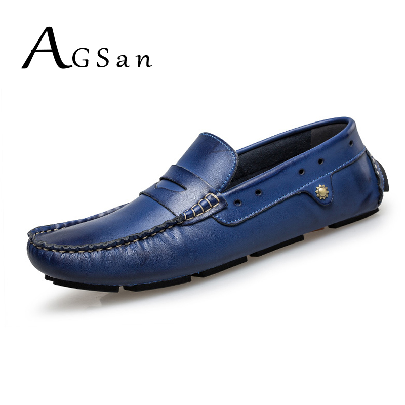 AGSan genuine leather penny loafers men blue boat shoes designer driving shoes plus size loafers mens 11 10.5 47 46 moccasins<br>