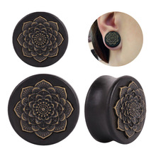 New Style 2PCS Black Natural Wood Mandala Flower Ear Plugs Tunnels Ear Expanders Earring Gauges Piercing Plug Ears Body Jewelry
