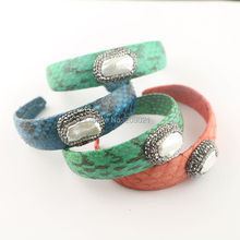 Finding ~ 4pcs Pave Rhinestone Crystal Pearl Bangle , Mixed Color Snakeskin Cuff Bangles Bracelets