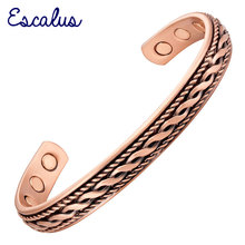 Channah 2017 Vintage Style Powerful Copper Women Magnetic Bangles Health Healing Bio Bracelet Men fashion Wristband Charm(China)
