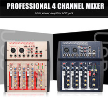 4 Channel Mini Portable Mixer Professional Live Studio Audio Mixer USB Mixer Mixing Console Network Anchor Sound Card(China)