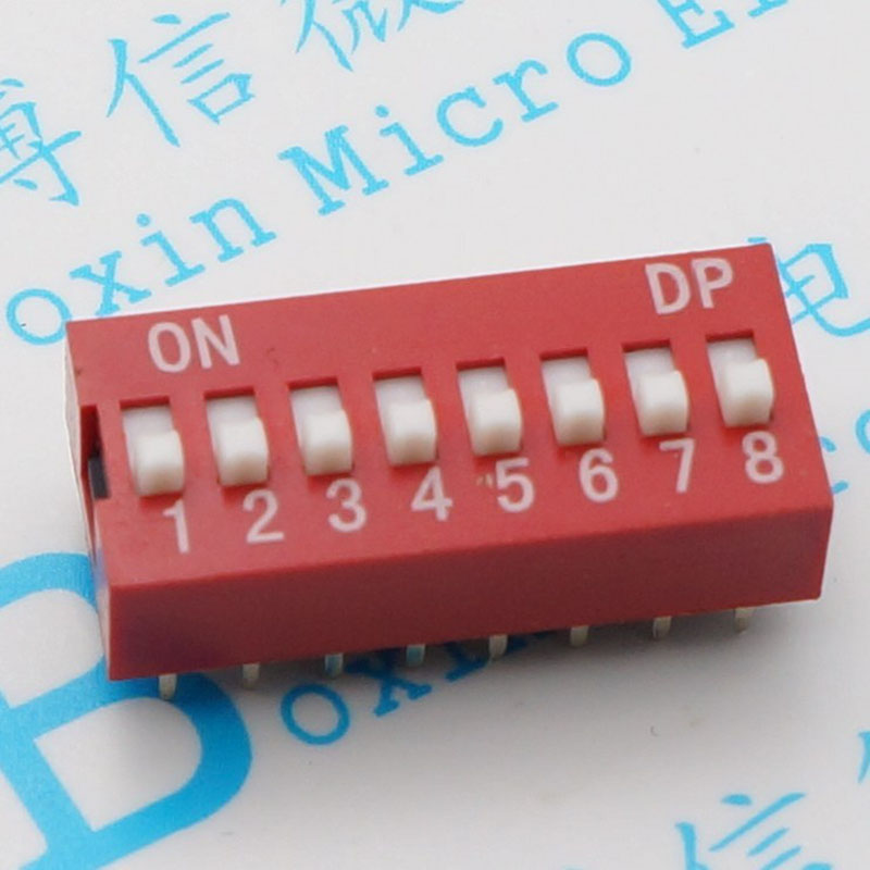 Eight red into the dialing code switch pin pitch 2.54 MM flat<br>