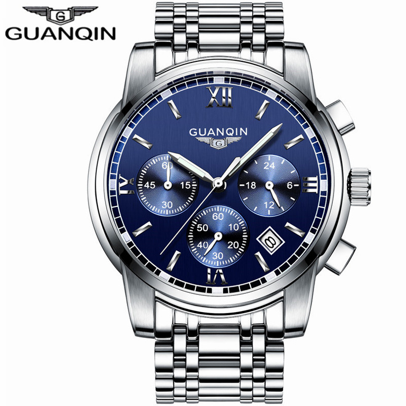 GUANQIN Luxury Top Brand Chronograph 6 Hands 24 Hours Function Quartz Watch Fashion Men Business Full Steel Waterproof Watches<br>