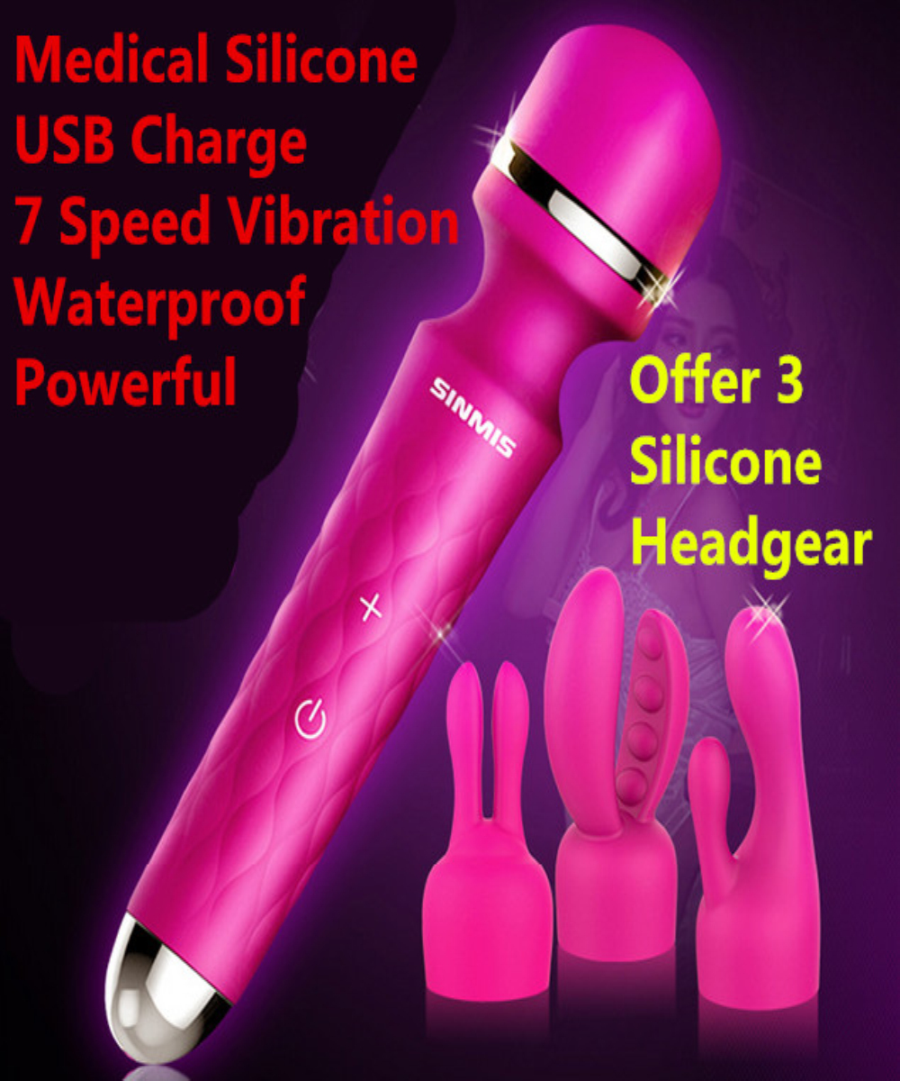 Fun Sex Toys For Women,USB Rechargeable 7 Speed Silicone AV Wand Vibrator Body Massager, Adult Products For Female Masturbation<br>