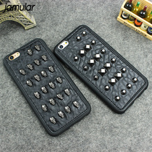 JAMULAR 3D Cool Studs Rivet Punk Skull Design Silicone Case For iPhone X 6 6s 7 8 Plus Black Rivet Leather Phone Cover Skin Capa(China)