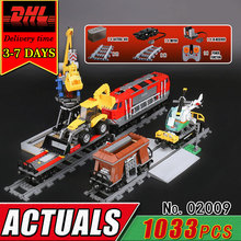 DHL LEPIN 02009 The Heavy-haul Track Train Electric Remote Control Building Block Compatible 60098 Brcik RC Car Toy Children Kid(China)