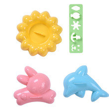 1 Set Super Cute Rabbit Dolphin Flower Shaped Rice Mold For Bento Sushi Ball Mold Kitchen DIY Mold Drop Shipping 2017 NEW(China)